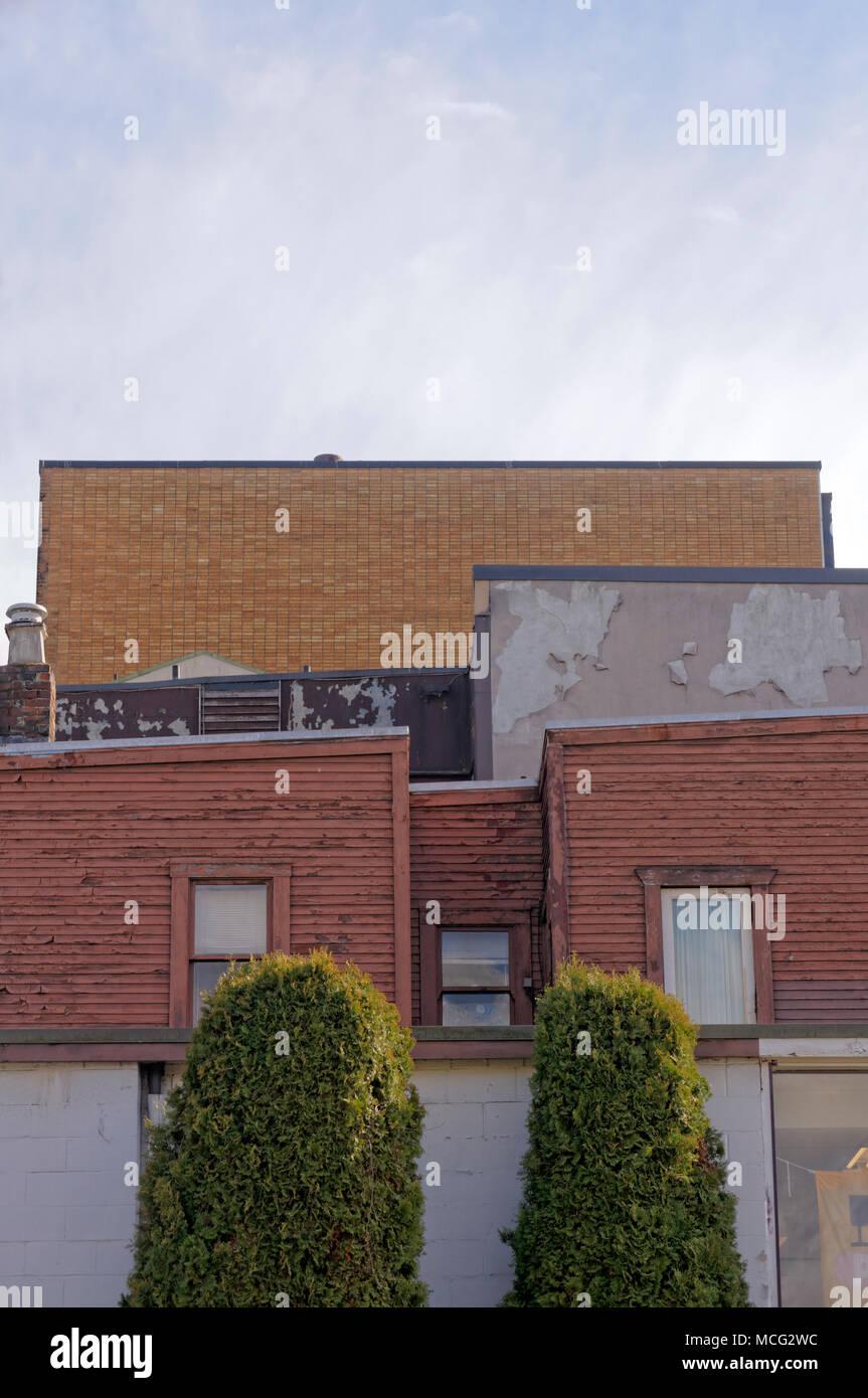 Accozzaglia di architettura eclettica nel sud Granville quartiere di Vancouver, BC, Canada Immagini Stock