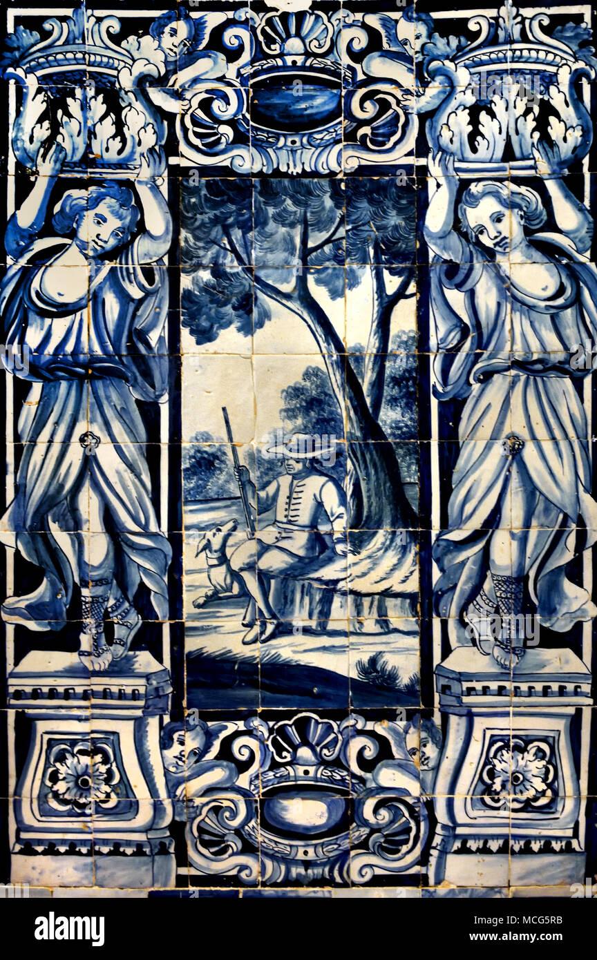 La Casa do Corpo Santo - Museu do Museo Barroco Setúbal comune, Portogallo.( pannello con azulejos tilework, ) Immagini Stock