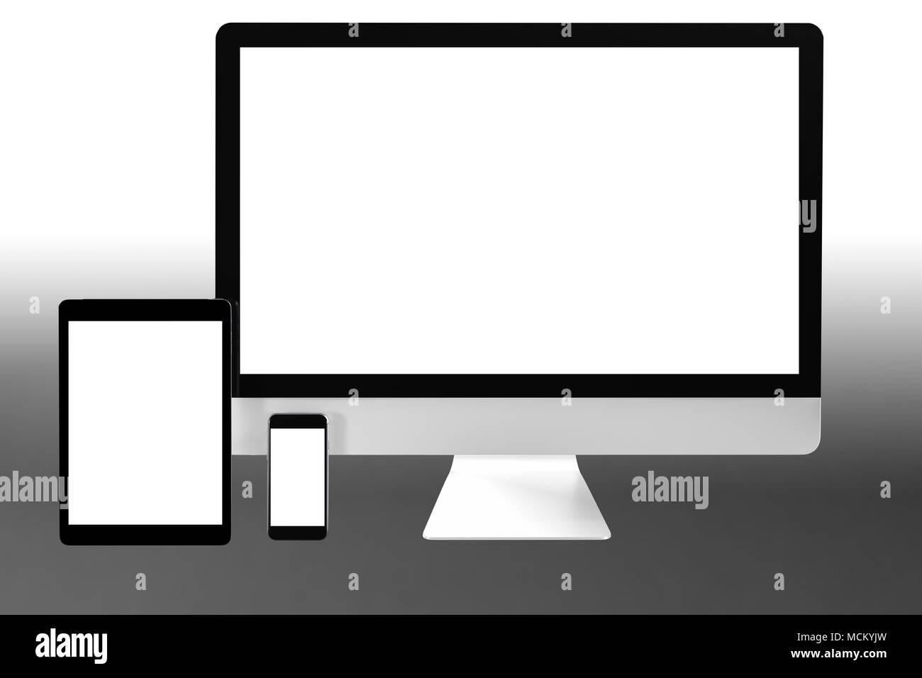 Moderno Computer Portatile Telefono Mobile E Tablet Isolare Su