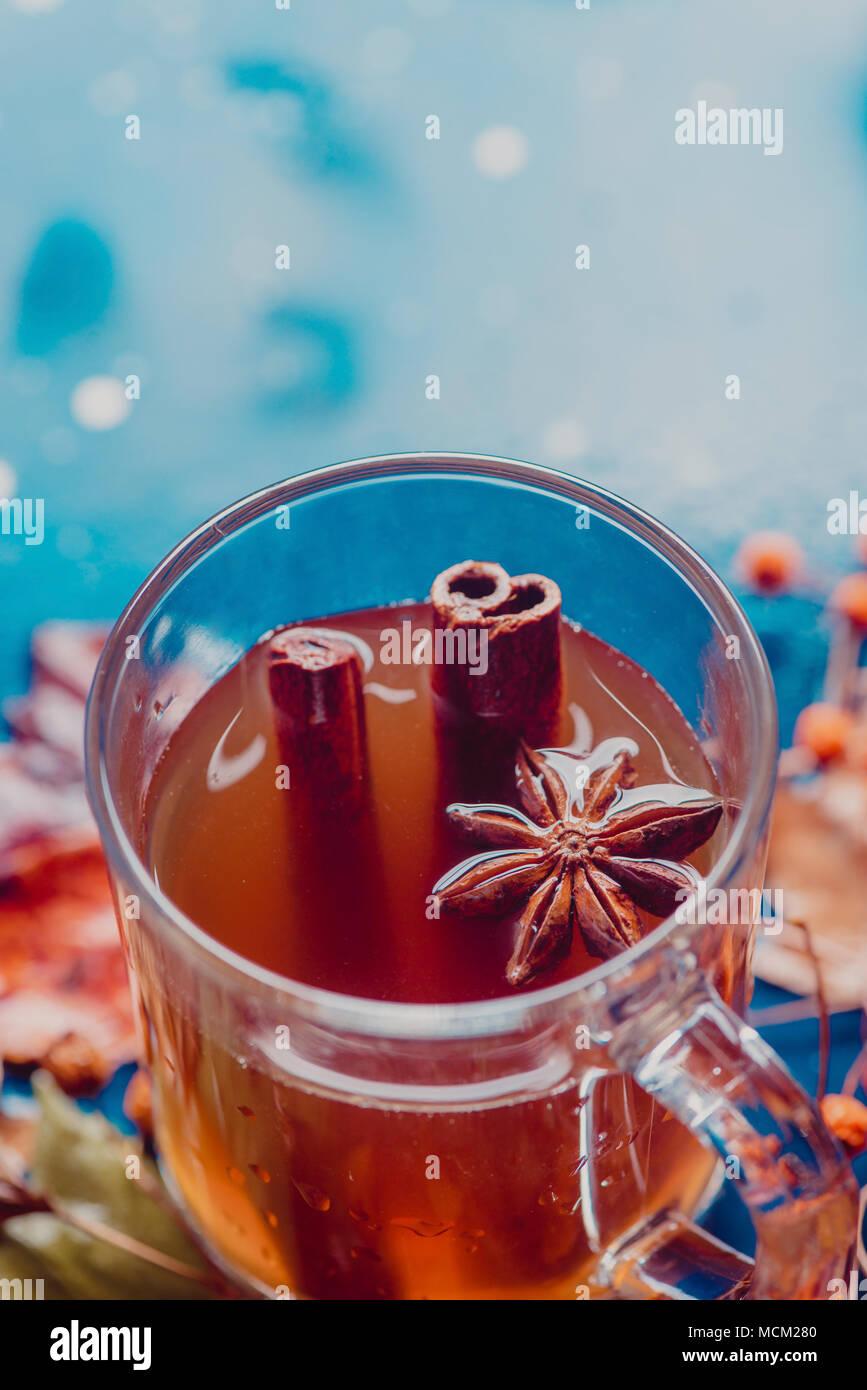 Tazza da tè con stelle di anice e cannella close-up. Fuori fuoco autunno sfondo con caduta foglie e bacche. Rainy day concetto con copia spazio. Immagini Stock