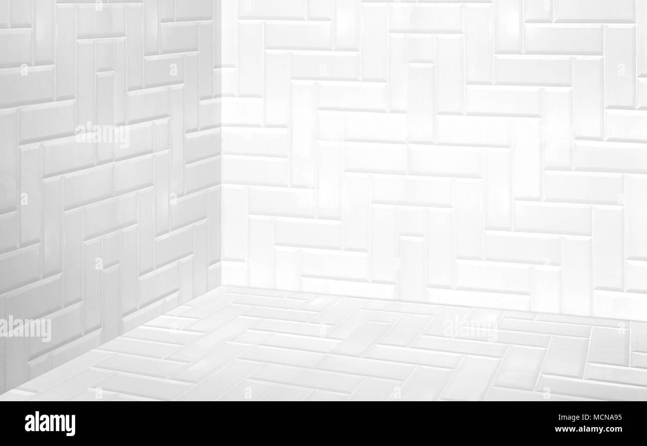 Angolo vuoto bianco moderno muro a piastrelle e pavimento in