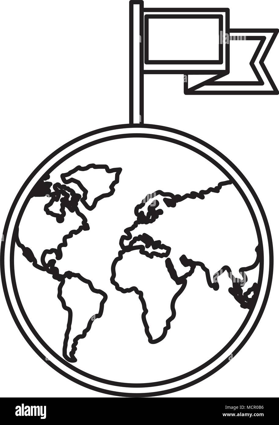 Mondo Pianeta Terra Con Bandiera Location Mark Illustrazione