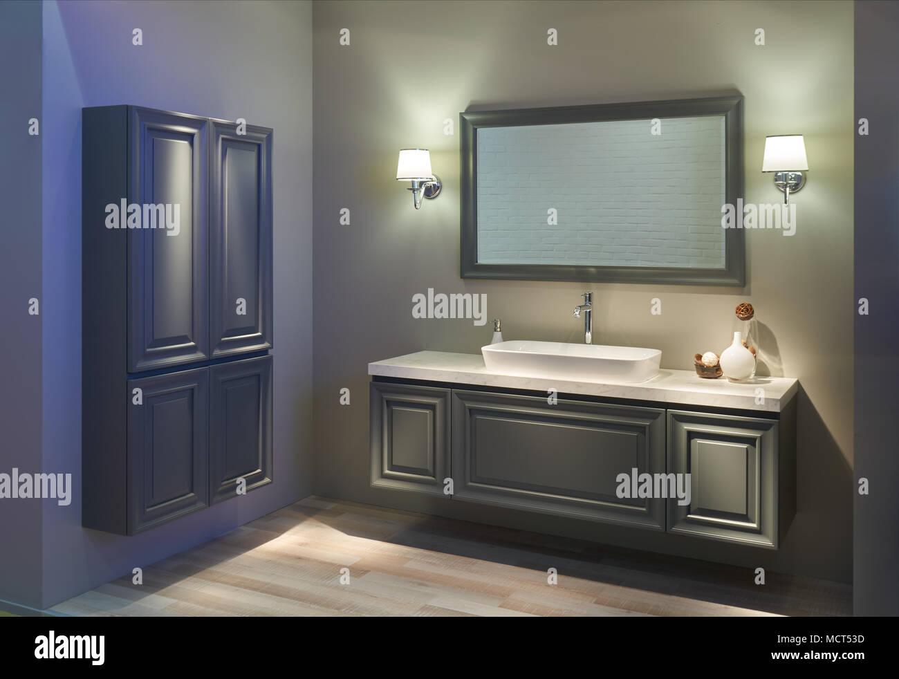 Interno del bagno moderno con top bianco lavabo specchio di
