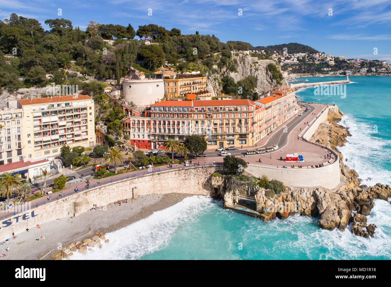 Nizza, Francia, veduta aerea della promenade des Anglais, Cote d'Azur; Immagini Stock