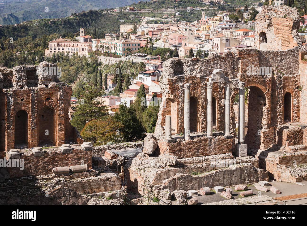 Teatro Greco di Taormina, Sicilia. Foto Stock