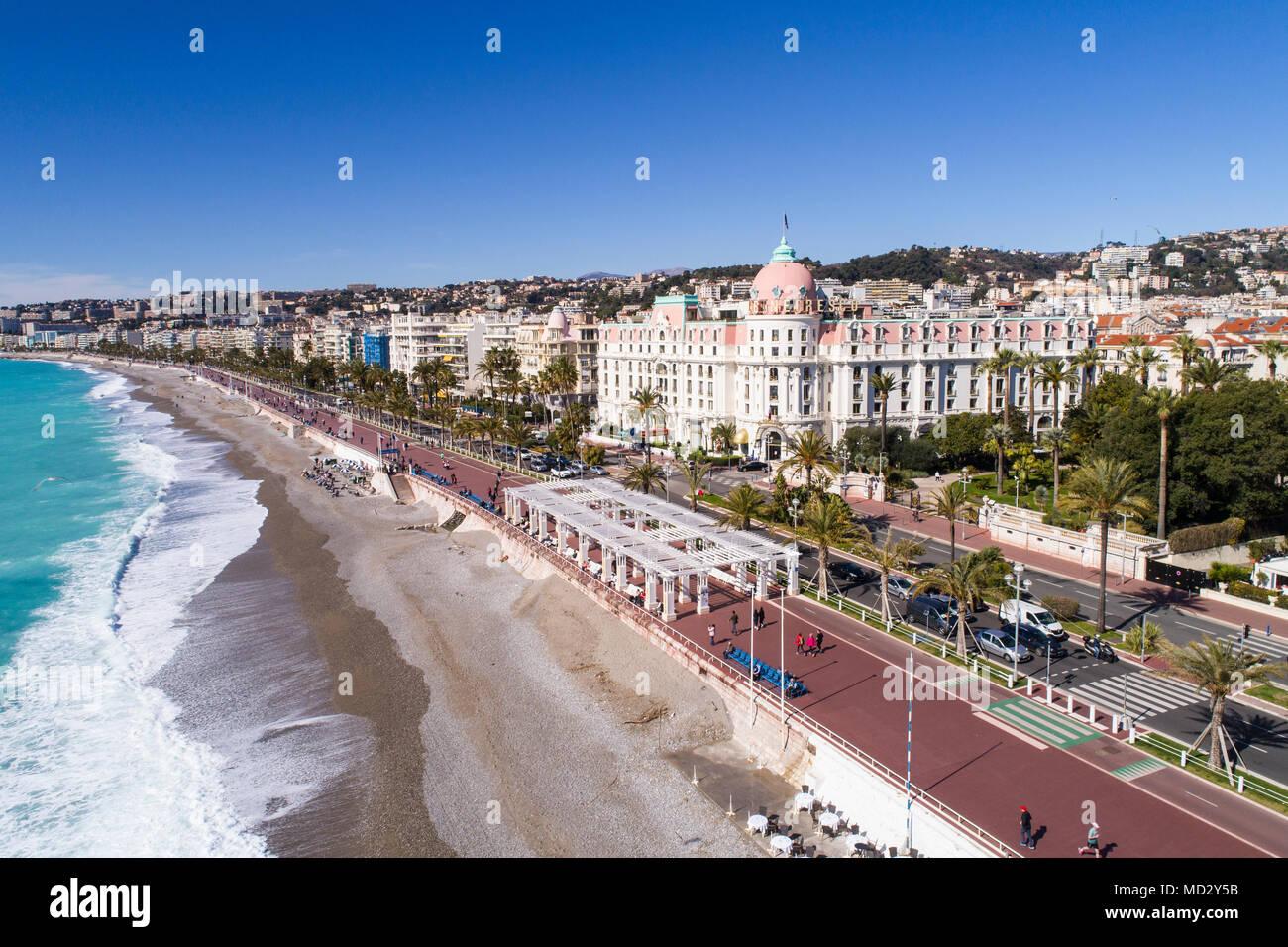 Nizza, Francia, veduta aerea della promenade des Anglais, Cote d'Azur, Immagini Stock