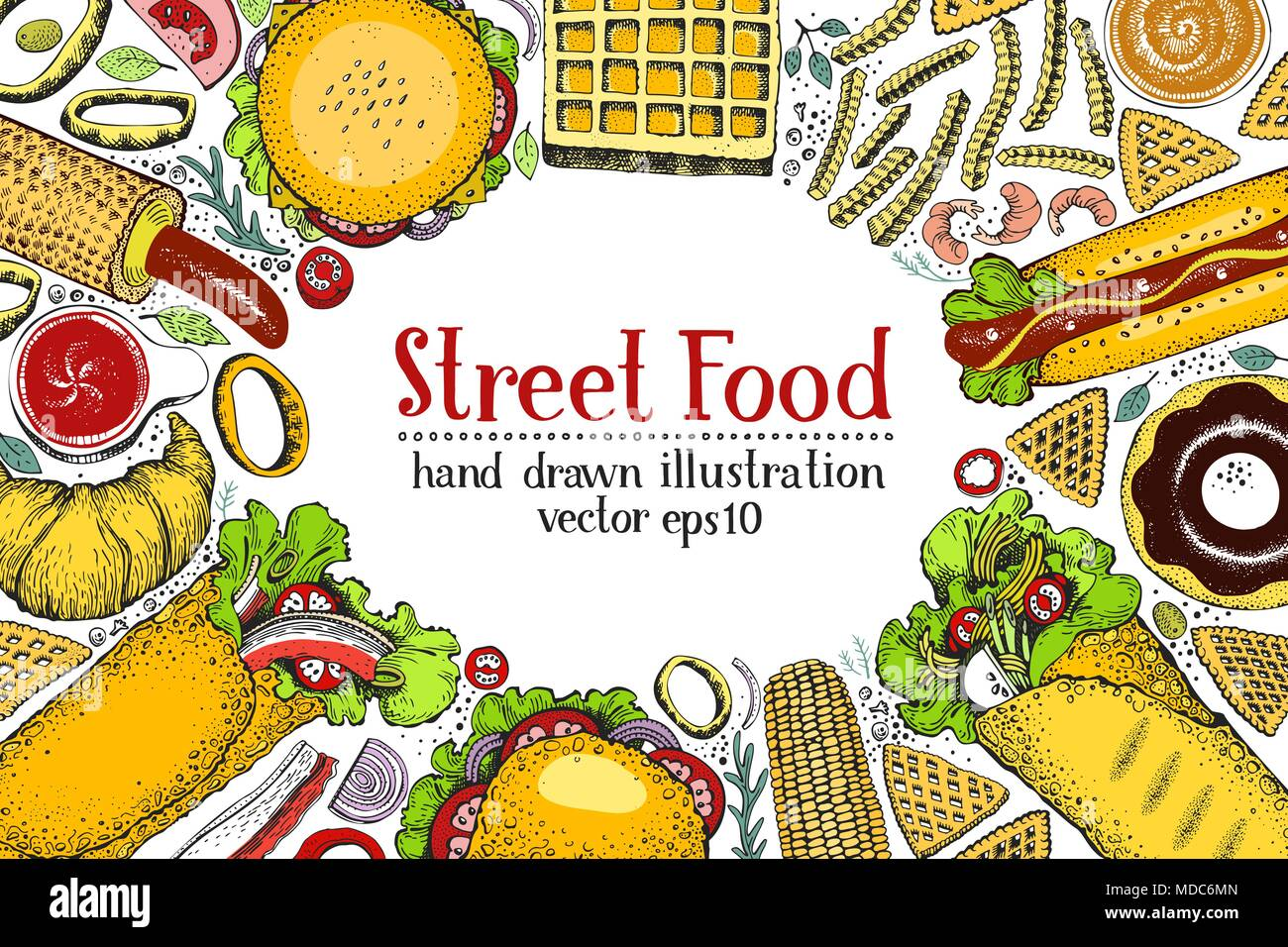 Disegnata a mano colorata fast food banner. Cucina di strada vista ...