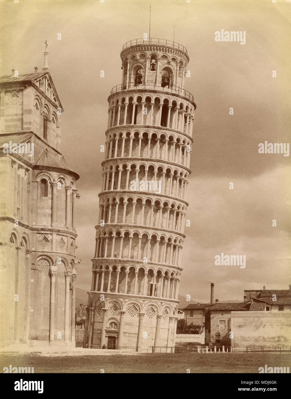 La torre pendente di Pisa, Italia 1880 Immagini Stock