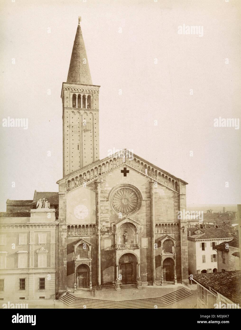 La cattedrale, Piacenza, Italia 1880 Immagini Stock
