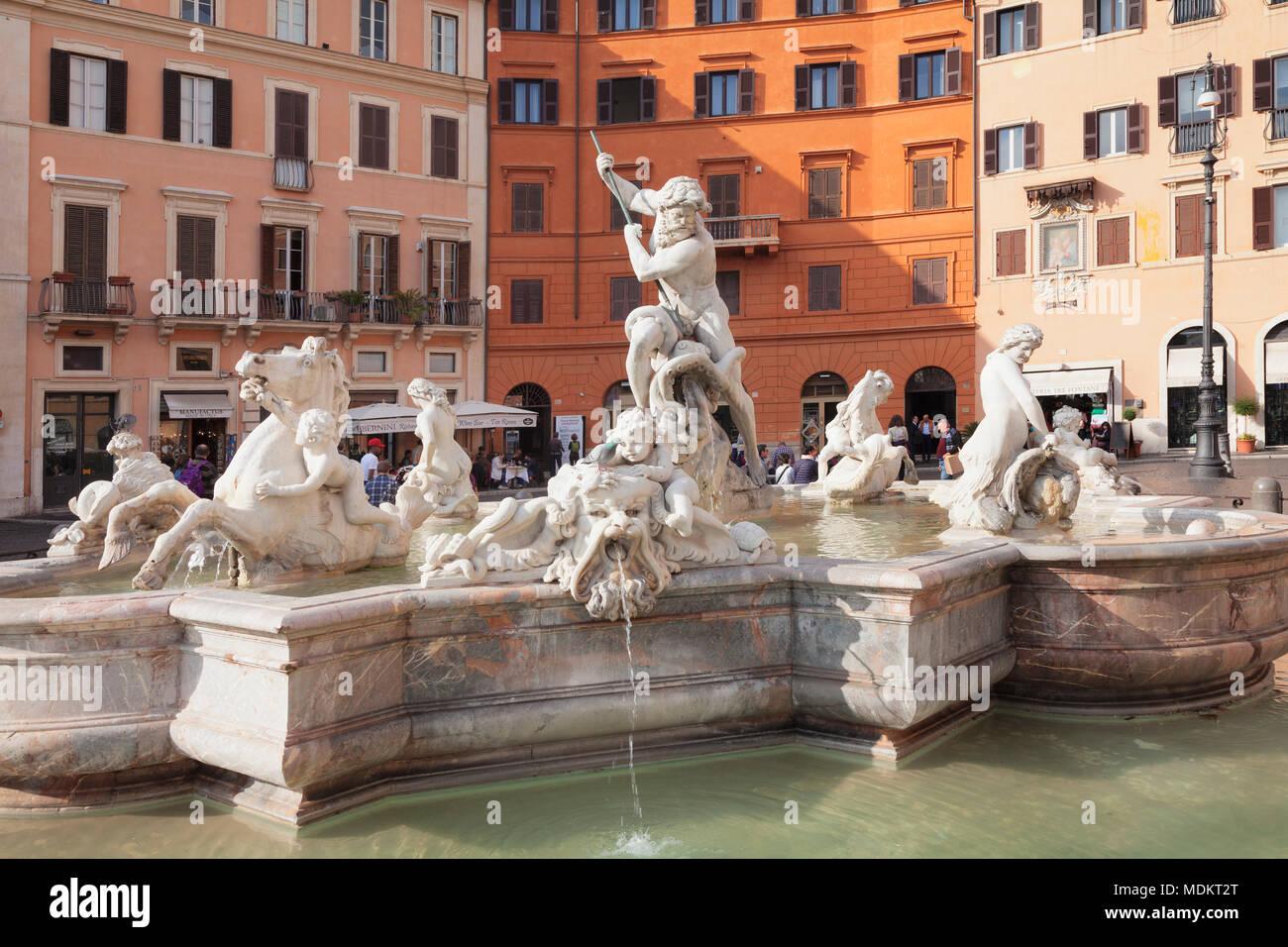 Fontana di Nettuno, la Fontana del Nettuno, Piazza Navona, Roma, lazio, Italy Immagini Stock