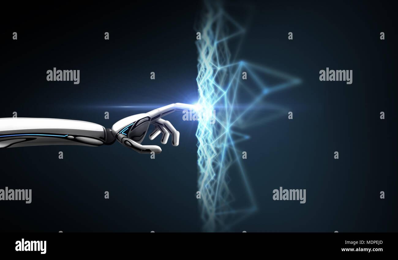 Mano di robot la connessione a una rete virtuale Immagini Stock