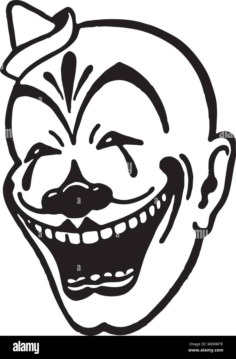Faccia Da Clown Retrò Illustrazione Clipart Illustrazione