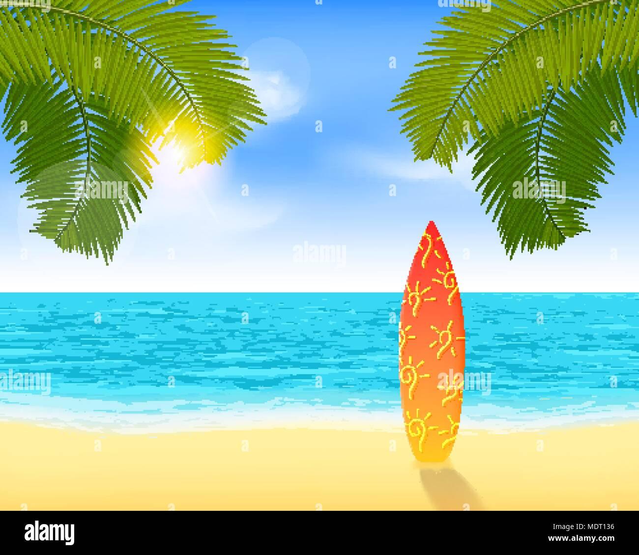 Tavola Da Surf In Piedi Su Una Spiaggia Di Sabbia Vicino Al Mare