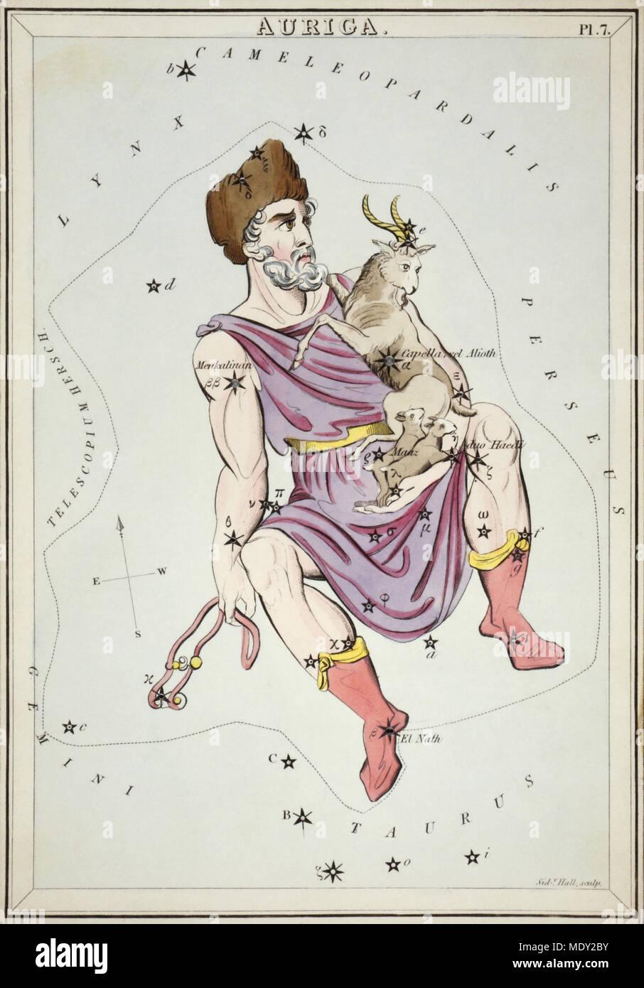 Auriga. Numero di carta di credito 7 da specchio di Urania, o una vista del cielo, uno di una serie di 32 stelle astronomico schede grafico incisi da Sidney Hall e publshed 1824. Immagini Stock