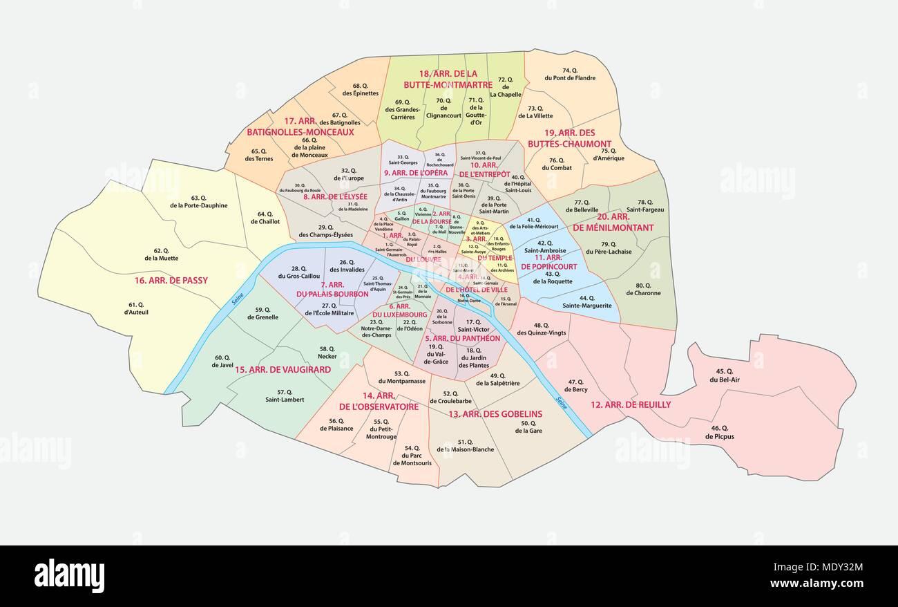 Cartina Politica Di Parigi.Parigi Politica E Amministrativa Di Mappa Vettoriale Immagine E Vettoriale Alamy