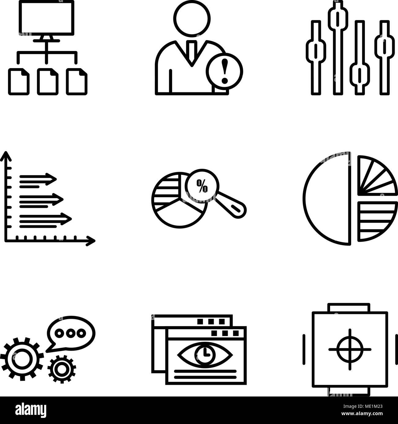 Set di 9 semplici icone modificabili quali cassaforte, visualizzatore dati 3d'analisi dei dati, semplice tabella, grafico a torta analysis, analisi box plot Grafico, Dati ana Immagini Stock