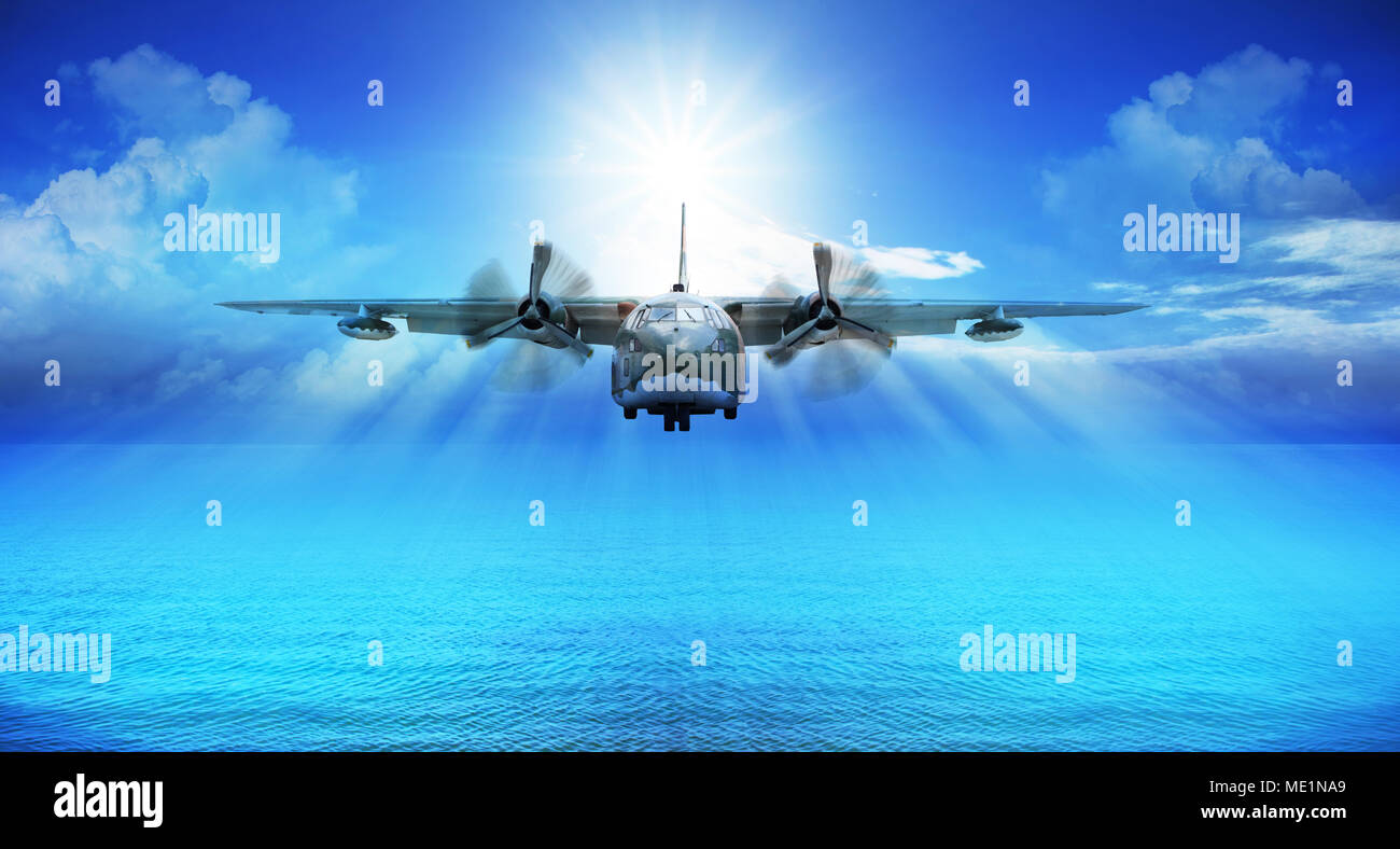C123 Piano Militare Atterraggio Con Cielo Blu Di Sole Sullo Sfondo