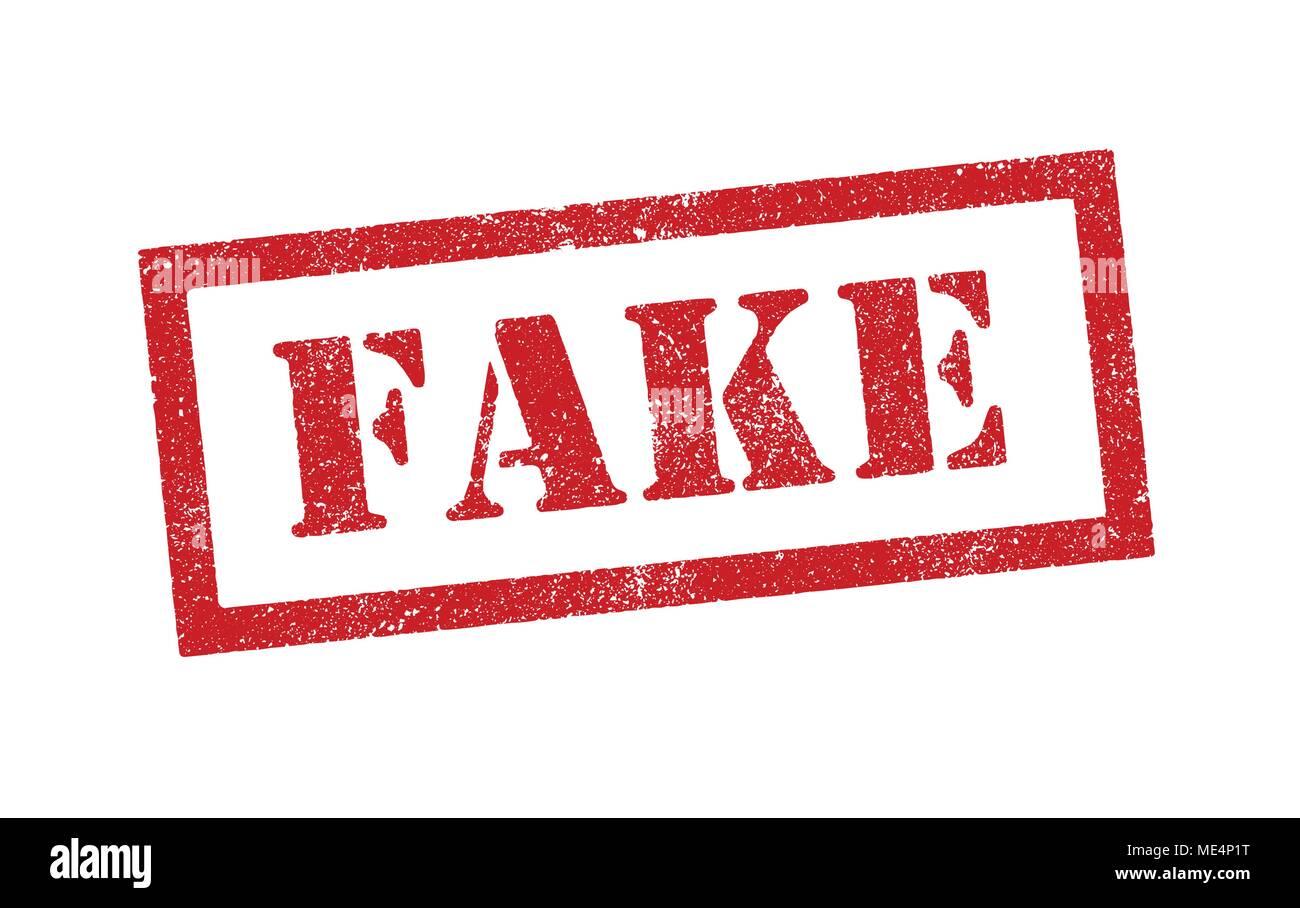 Illustrazione Vettoriale della parola Fake nel timbro in inchiostro rosso Immagini Stock