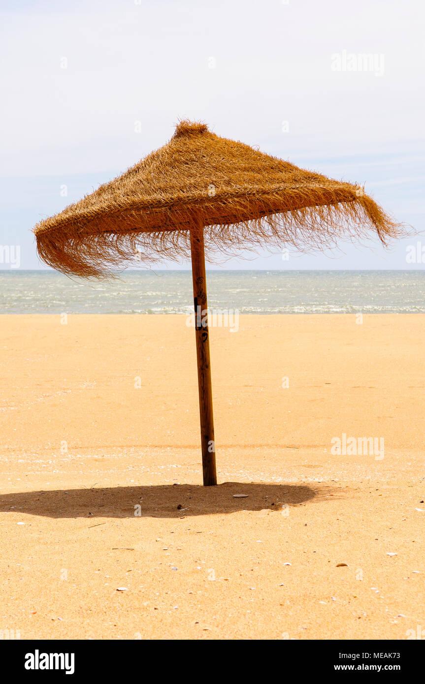Ombrelloni Di Paglia Vendita.Ombrellone Di Paglia Su Una Spiaggia Di Sabbia Foto Immagine