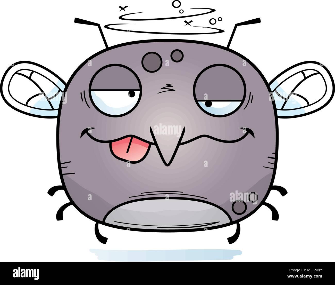 Un cartoon illustrazione di una zanzara cercando ubriaco