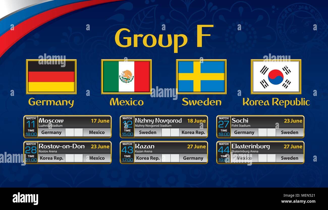 Russia Torneo Di Calcio Calendario Gruppo F Con La Bandiera Di Ogni