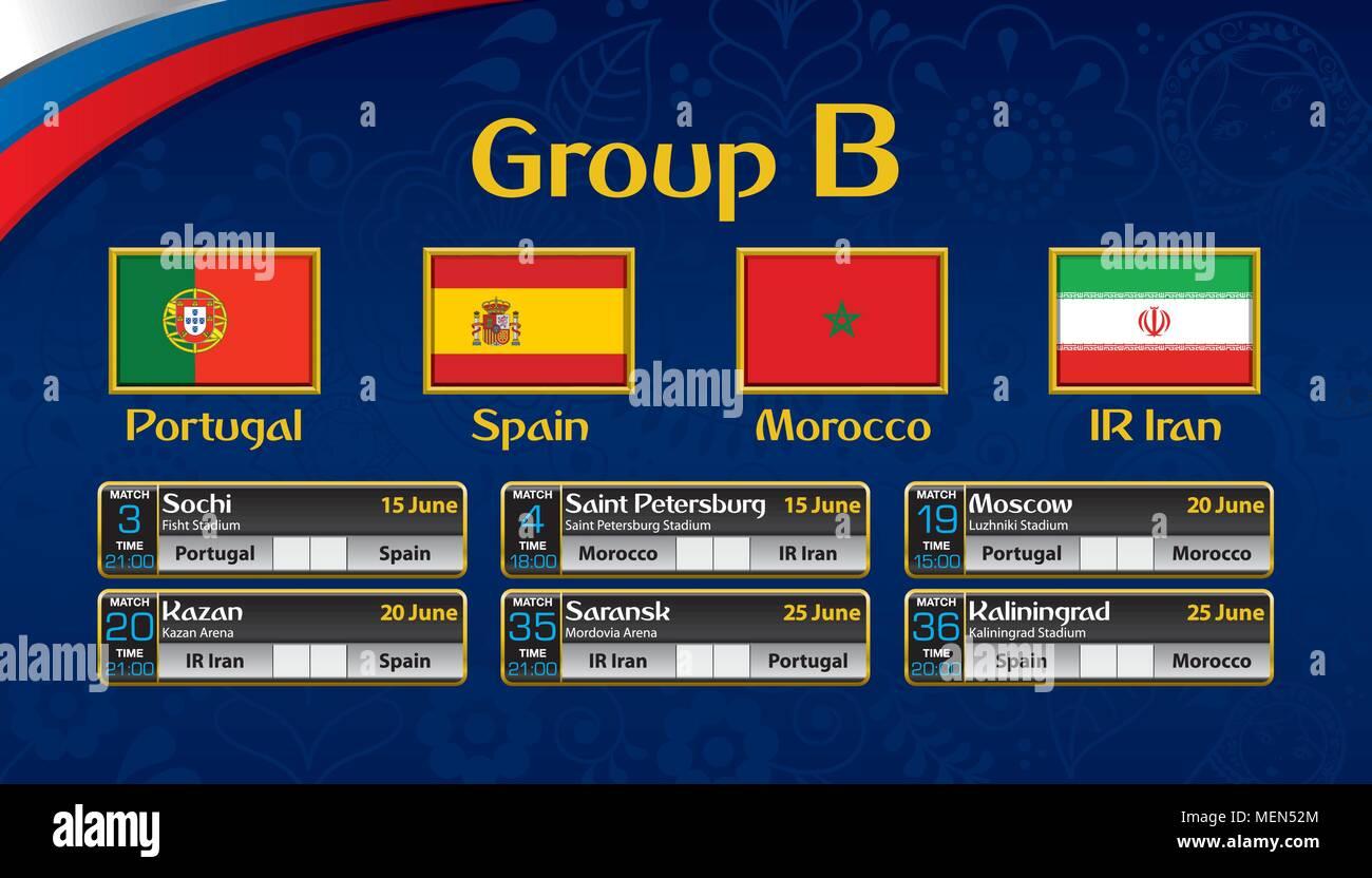 Calendario Calcio.Russia Torneo Di Calcio Calendario Gruppo B Con La Bandiera