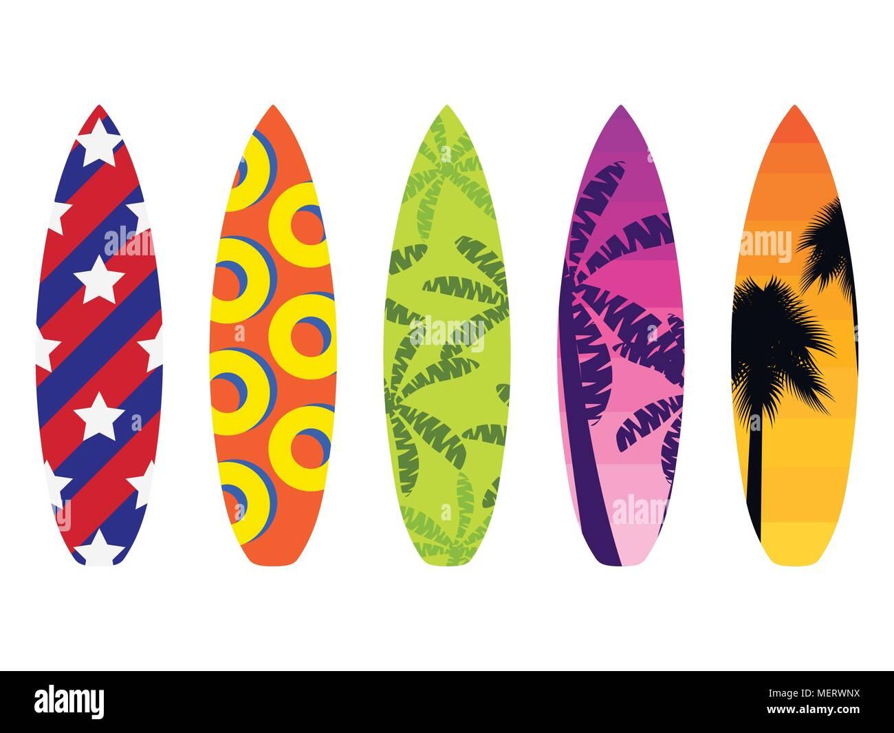 Tavole da surf su uno sfondo bianco tipi di tavole da surf con un pattern tropici palme - Tavole da surf decathlon ...