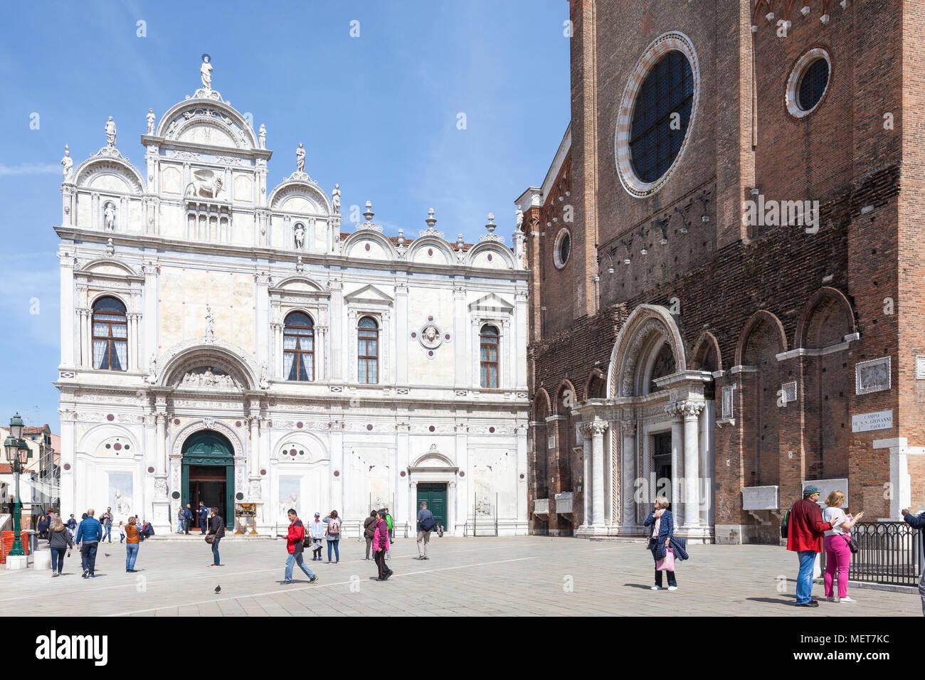 Scuola Grande di San Marco, Campo dei Santi Giovanni e Paolo, Castello, Venezia, Veneto, Italia Immagini Stock
