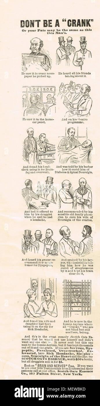 Scotch Avena essenza storyboard annuncio, Puck magazine, 1888 Immagini Stock