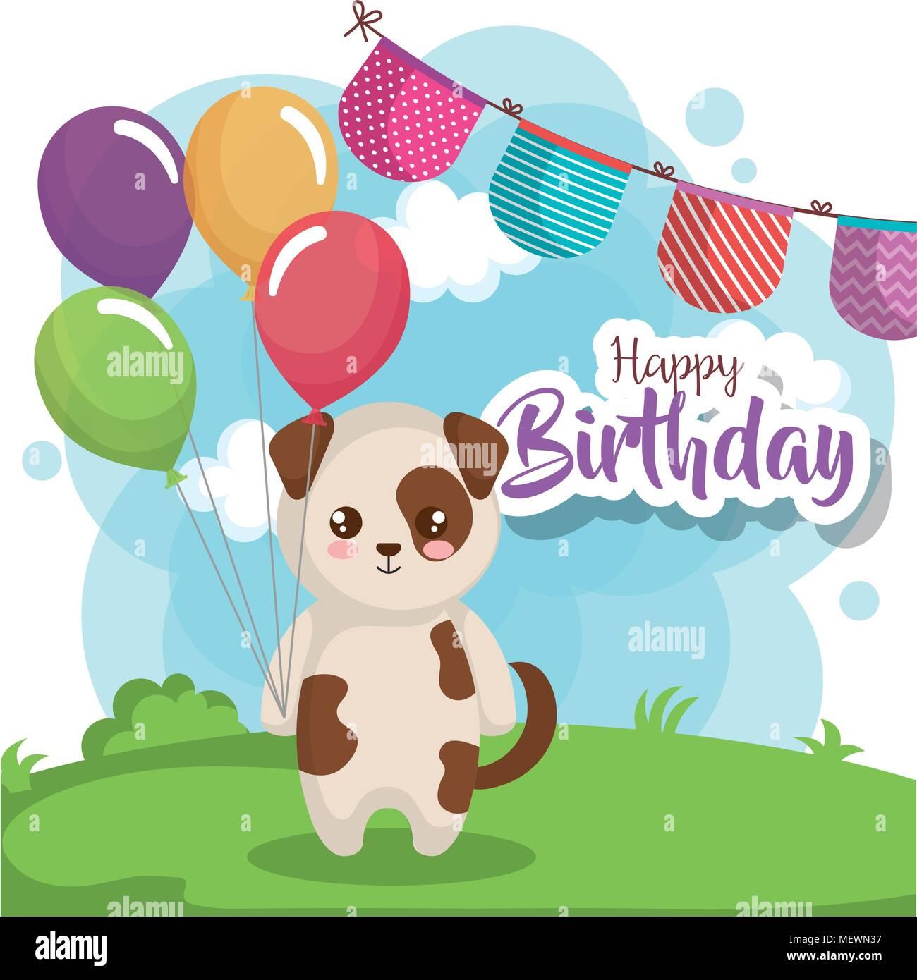 Buon Compleanno Card Con Il Cane Illustrazione Vettoriale 181274219