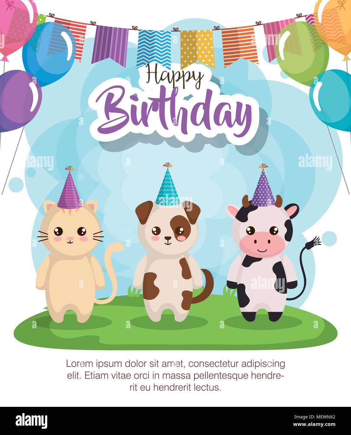 Buon Compleanno Card Con Gruppo Di Animali Illustrazione Vettoriale