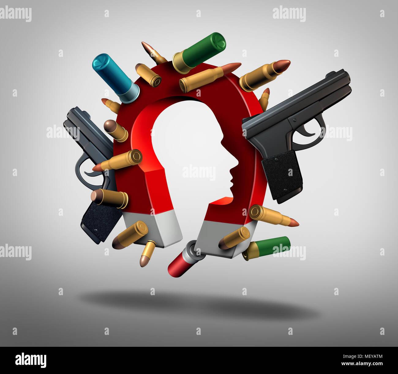 Attrazione per pistole e sociale società o problemi di sicurezza riguardanti la psicologia della gente e delle armi da fuoco e una pistola la cultura come un 3D'illustrazione. Immagini Stock
