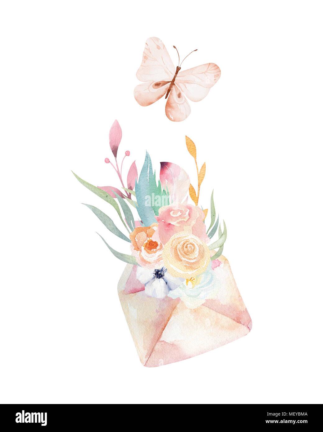 Isolato carino acquerello tasti unicorn clipart con fiori. Vivaio chiave unicorns illustrazione. La principessa rainbow poster. rosa poster di magia Immagini Stock