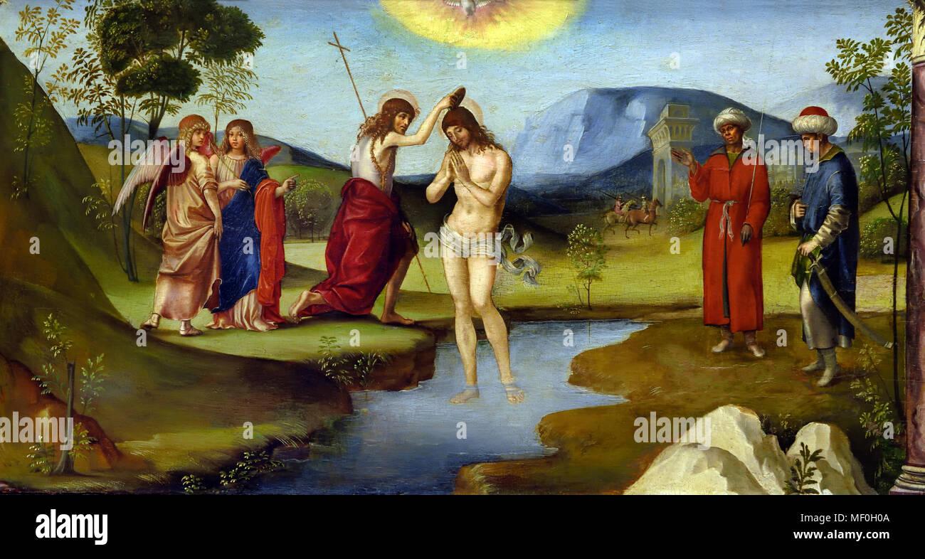 Il Battesimo di Cristo 1490 Francesco Francia ( ma Raibolini detto Francia - Zola Predosa o Bologna ) 1447- 1517 ), è stato un pittore, orafo e medaglia, attivo in Italiano Bologna, Italia, Immagini Stock