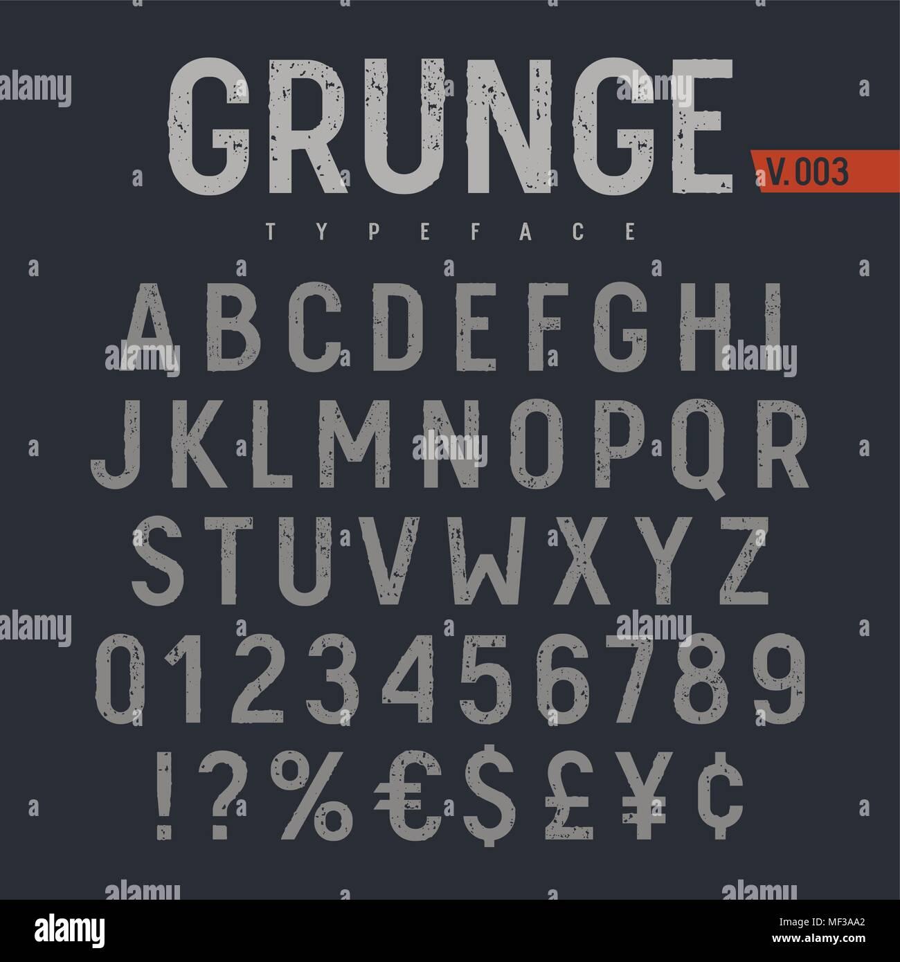 Grunge font testurizzati. Timbro ruvide testurizzate tipografico. Alfabeto latino lettere e numeri. Immagini Stock