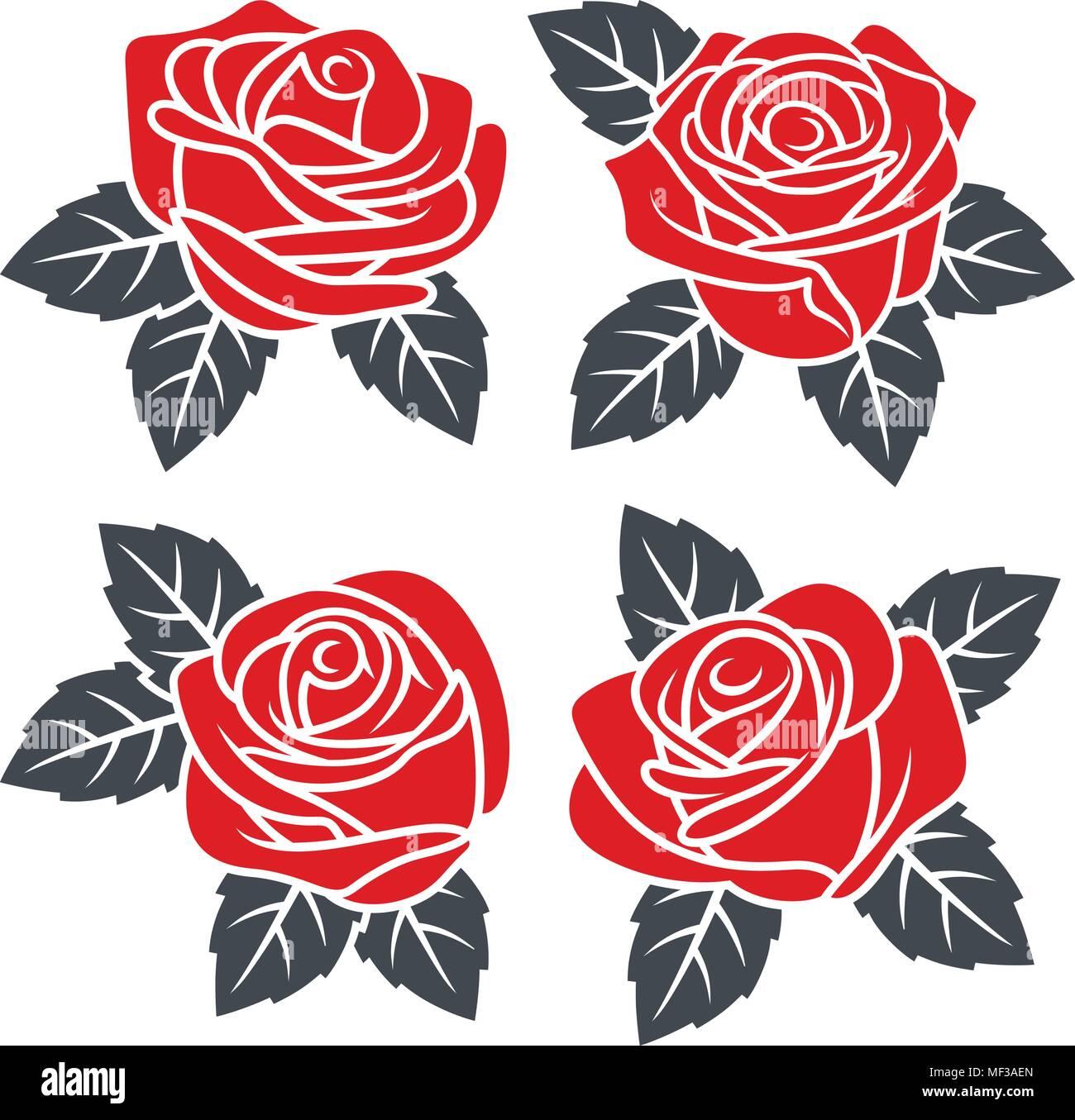 Sagome Di Rose Rosse Isolato Su Sfondo Bianco Utilizzare Per Il