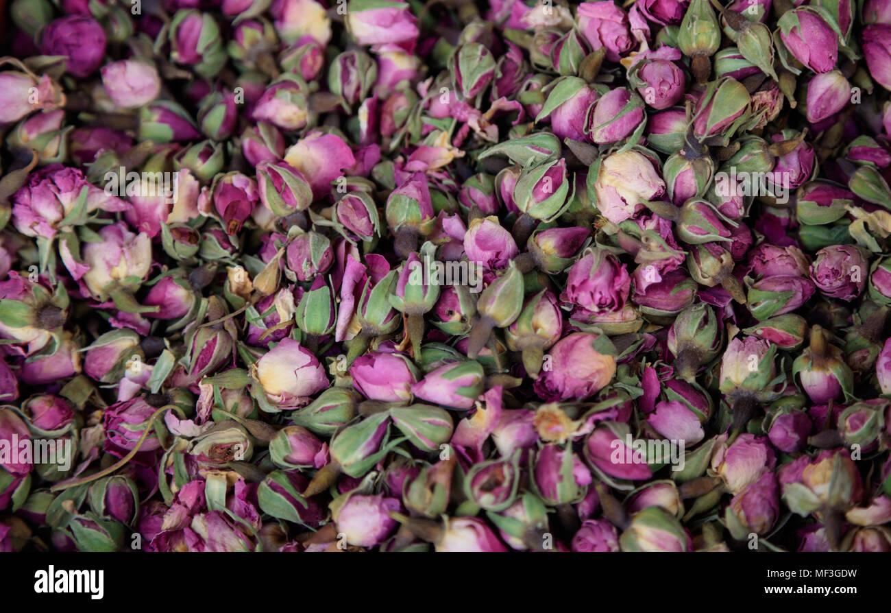 Le rose rosa, essiccato su heap. Antiossidante e rosebuds sani per lo sfondo. Vista ravvicinata con i dettagli. Vista superiore Immagini Stock