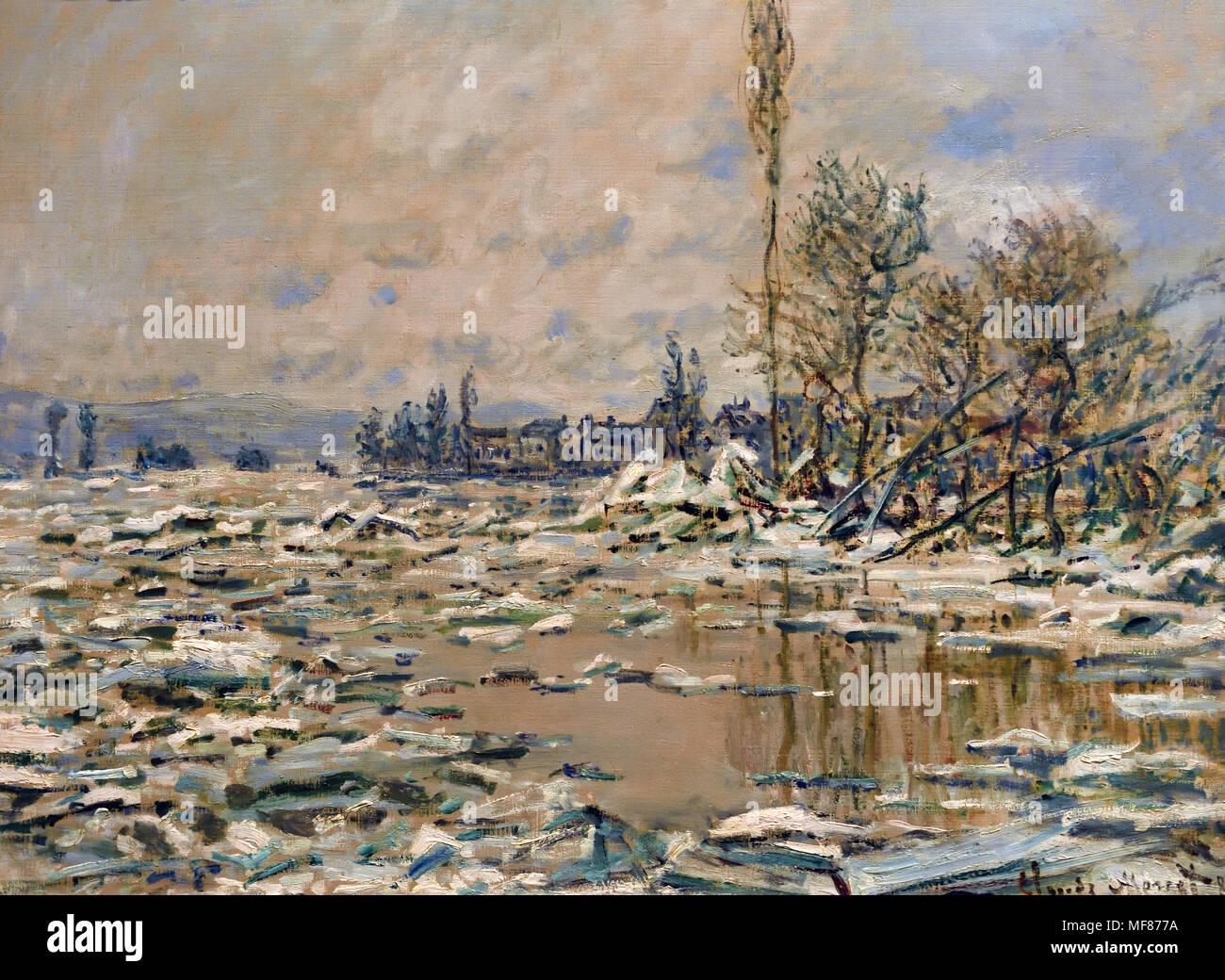 La rottura del ghiaccio 1880 Claude Monet, 1840 - 1926, francia, francese Immagini Stock
