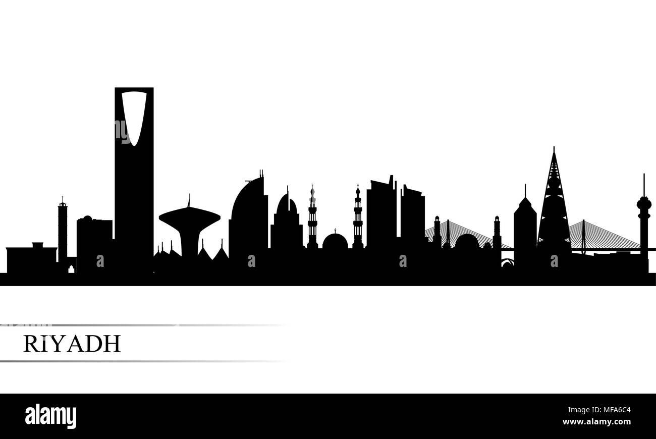 Riyadh City skyline silhouette sfondo, illustrazione vettoriale Immagini Stock