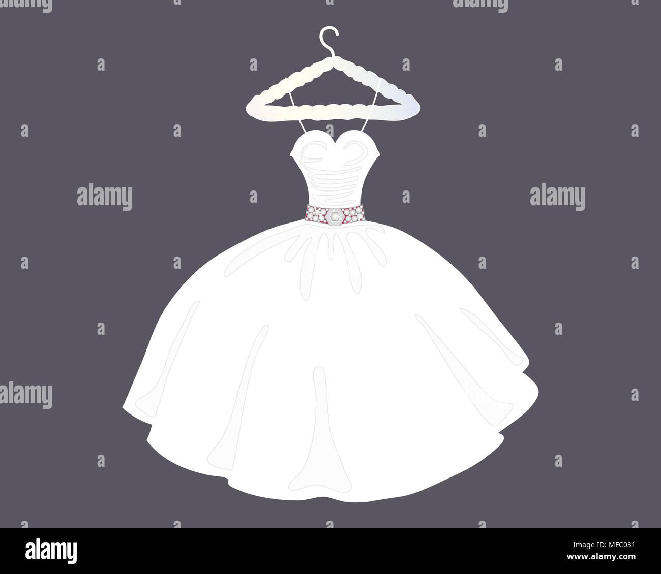 Una illustrazione di un designer di Bellissimo abito da sposa in palla abito stile su un negozio appendiabiti con sfondo grigio Immagini Stock