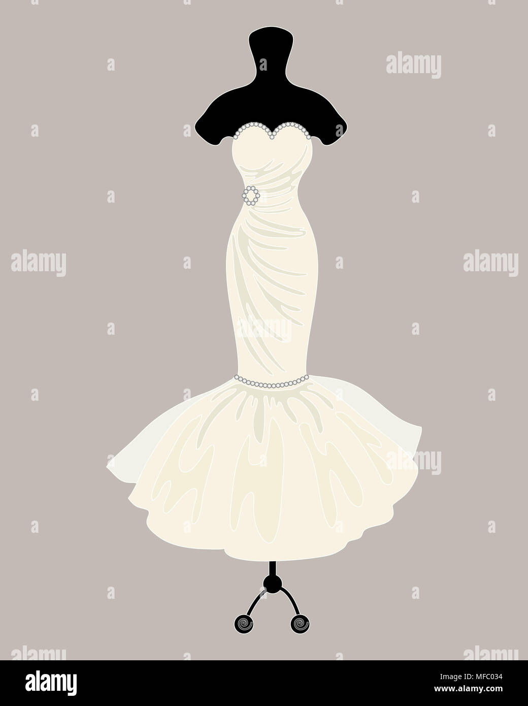 Una illustrazione di un designer di Bellissimo abito da sposa in stile Mermaid su un negozio sarti ciuccio con sfondo grigio Immagini Stock
