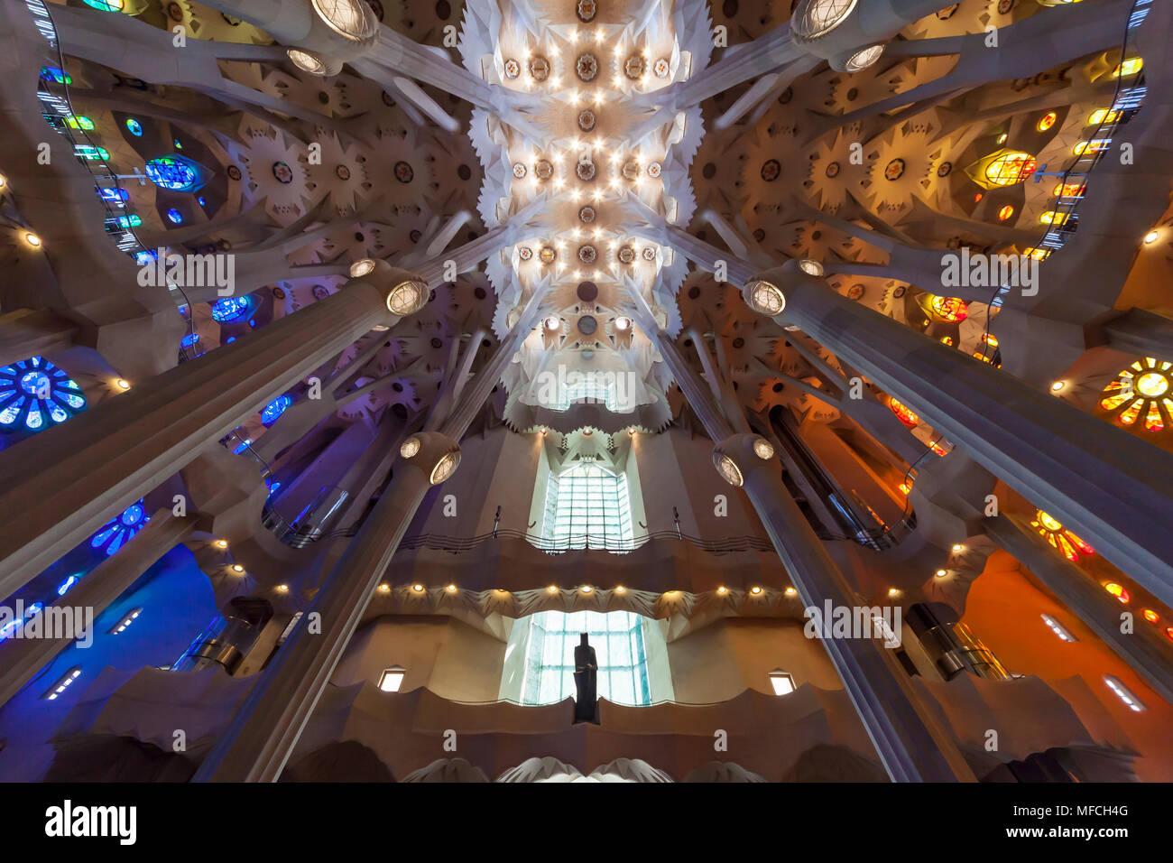 La Basílica i Temple Expiatori de la Sagrada Família è una grande incompiuta Chiesa Cattolica Romana di Barcellona. Immagini Stock