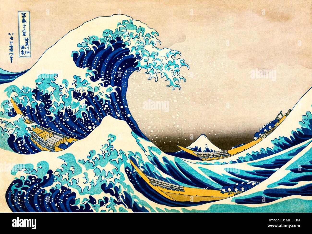 Xilografia colorata sotto la forma d'onda off Kanagawa Kanagawa oki nami ura, la grande onda, dalla serie trentasei vedute del Monte Foto Stock