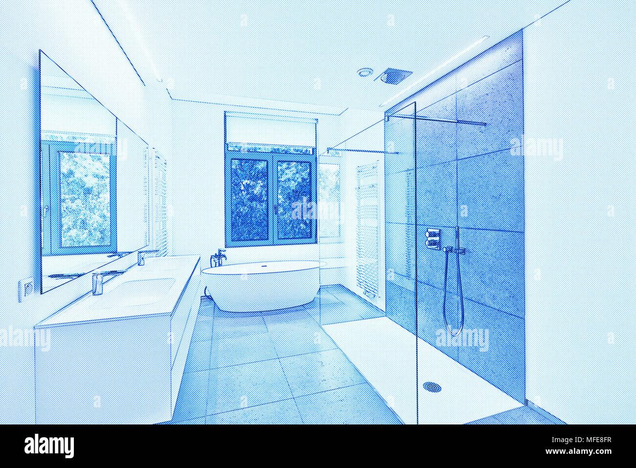 Blueprint di una vasca da bagno in corian, rubinetto e doccia nella ...