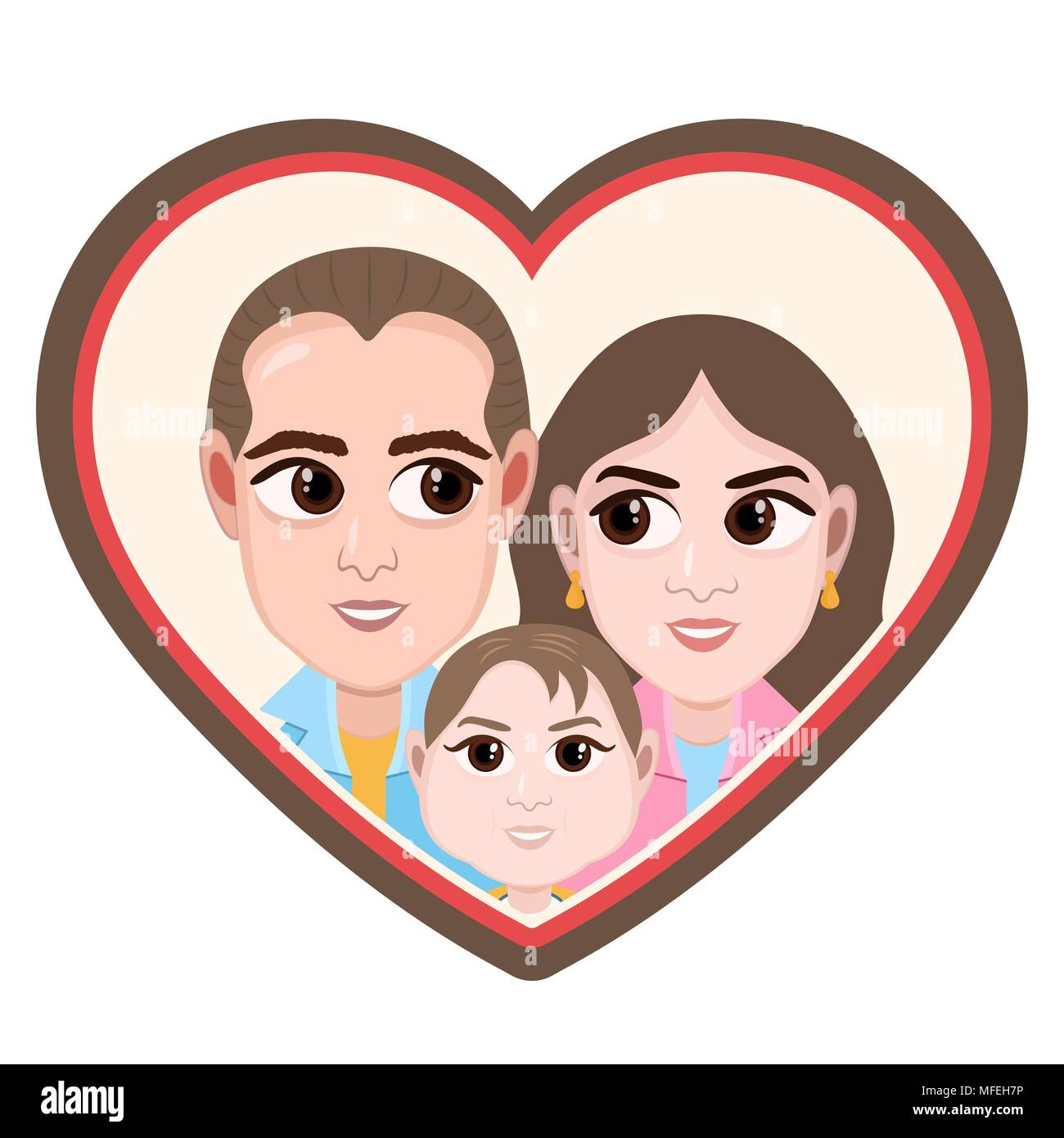 Personaggio Dei Fumetti Vettore Di Disegno Ritratto Happy Family