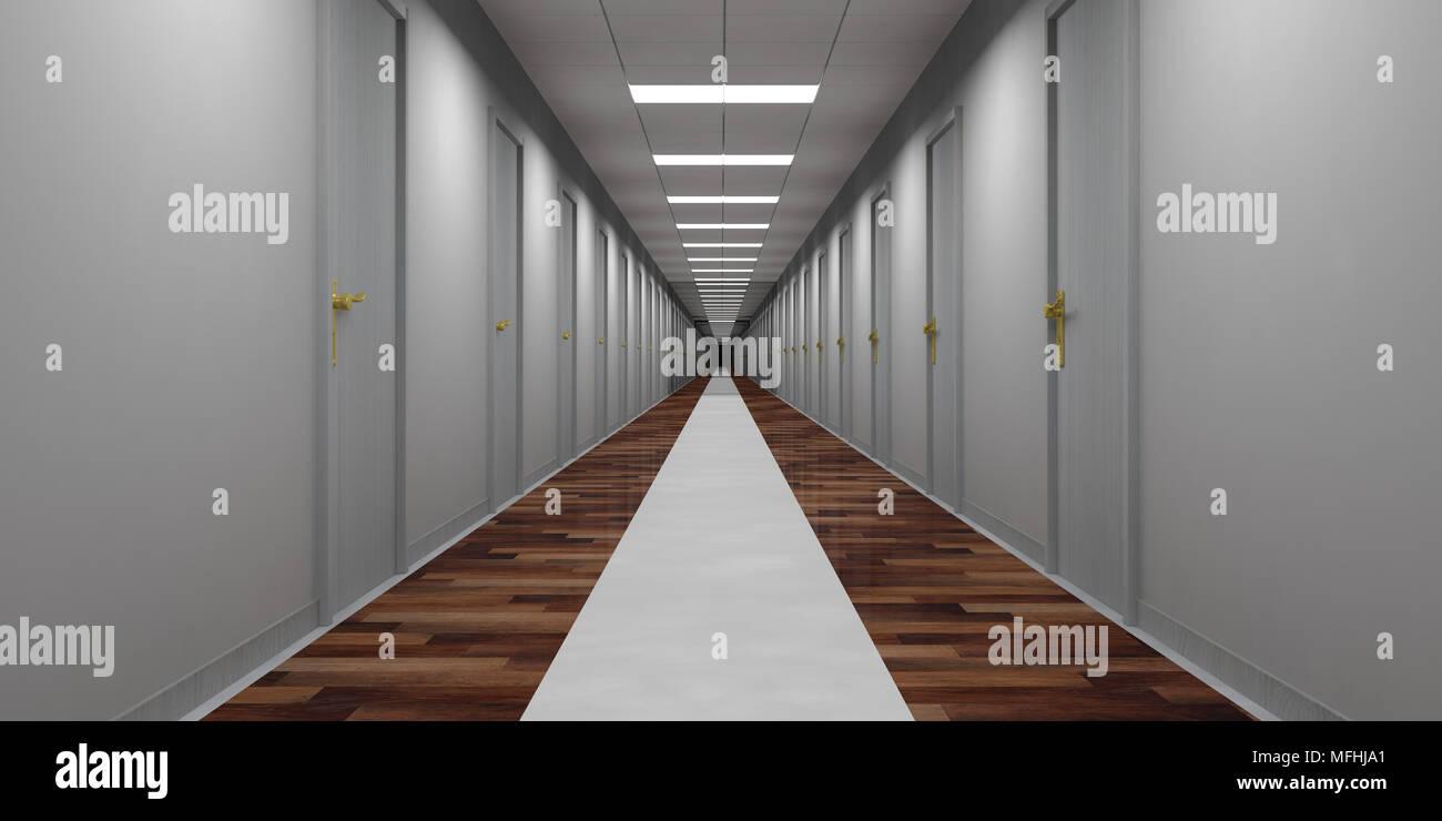 Ufficio Legno Hotel : Hotel o di un ufficio edificio corridoio vuoto con sportelli grigi e