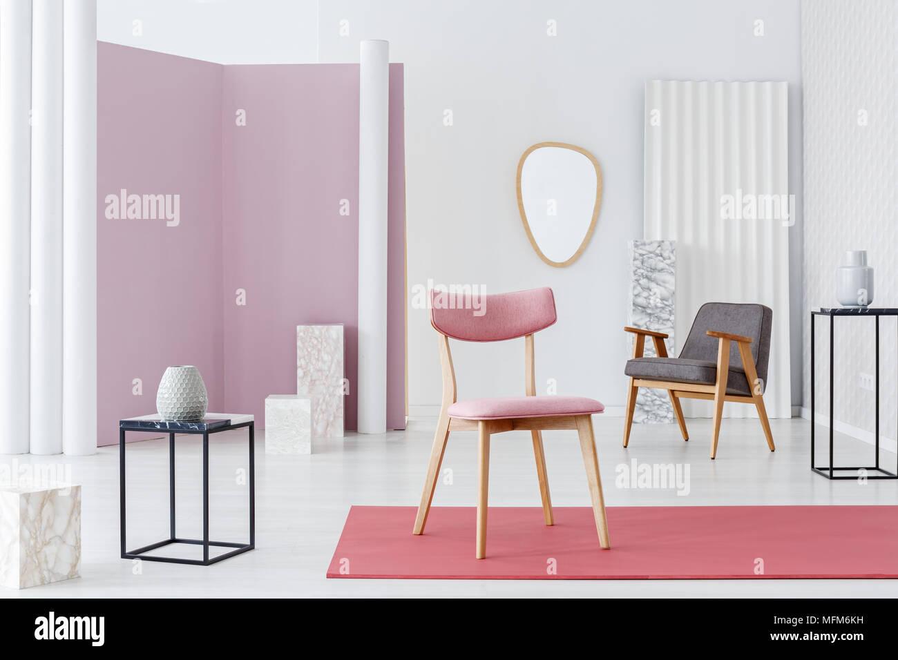 Sedia Imbottita Design : Rosa sedia imbottita poltrona moderna e i cubi di marmo con