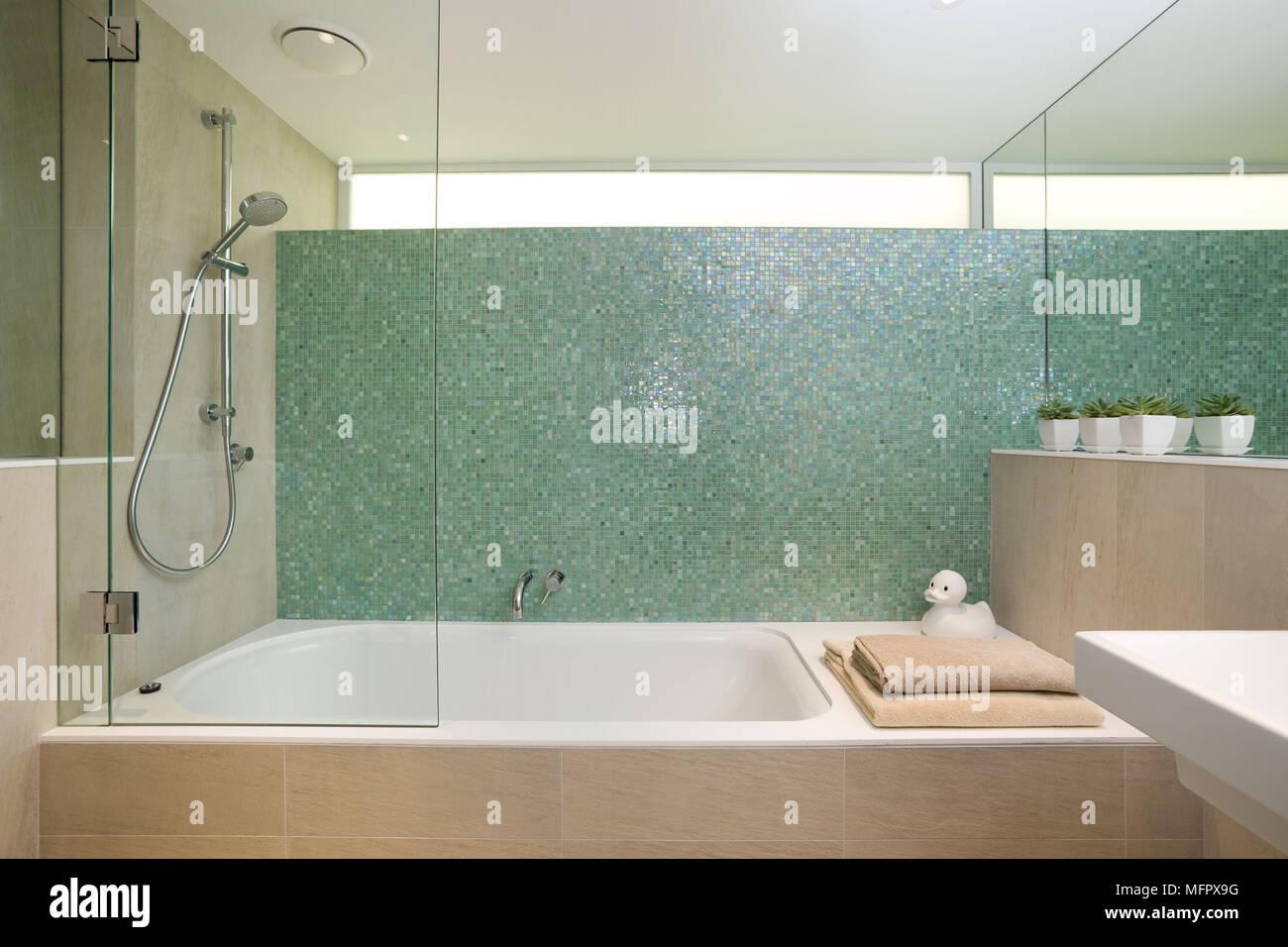 Sala Da Bagno Moderna : La doccia sopra la vasca da bagno in una moderna stanza da bagno