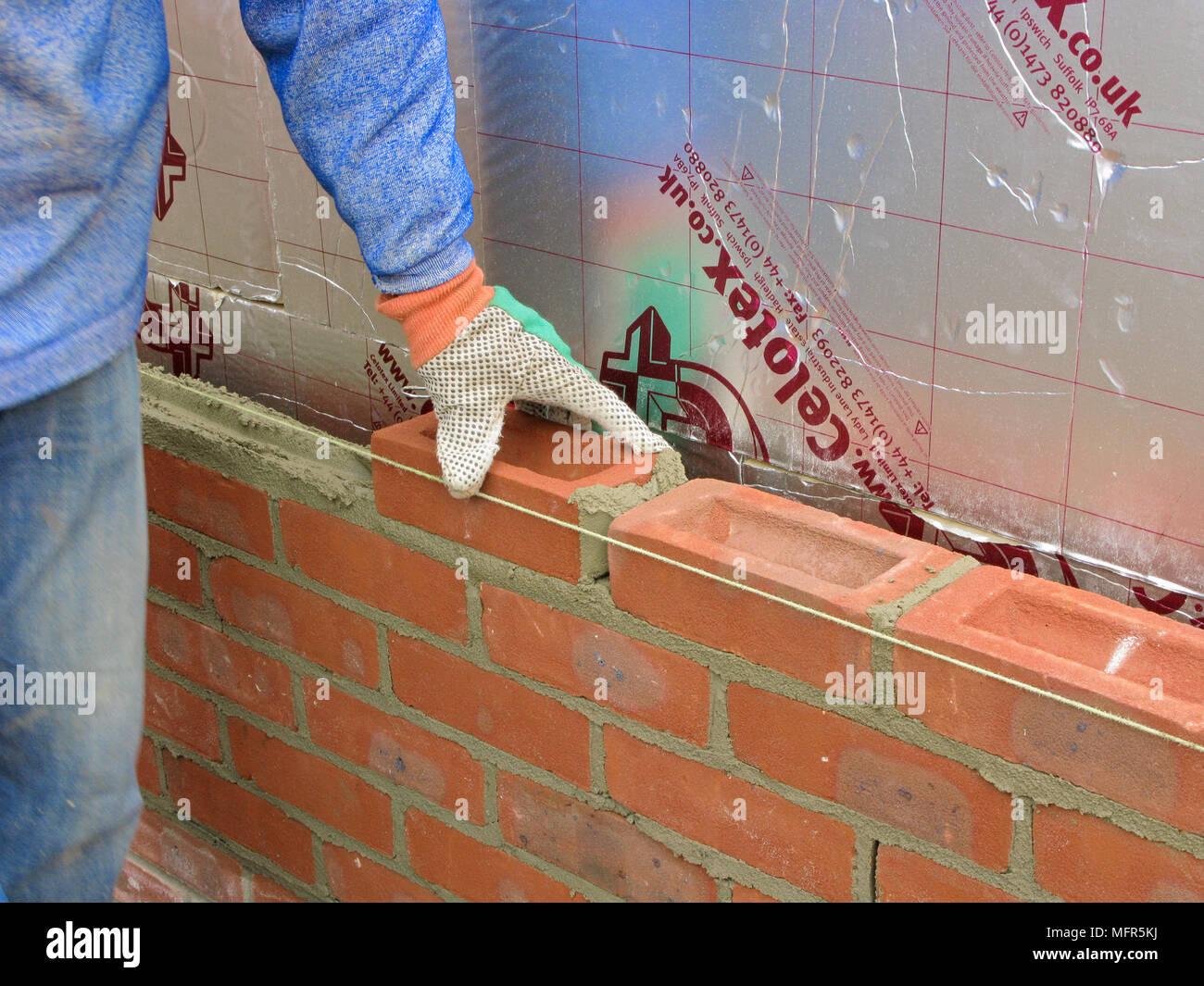 Builder Lavoratore Edile La Costruzione Di Un Muro Di Mattoni