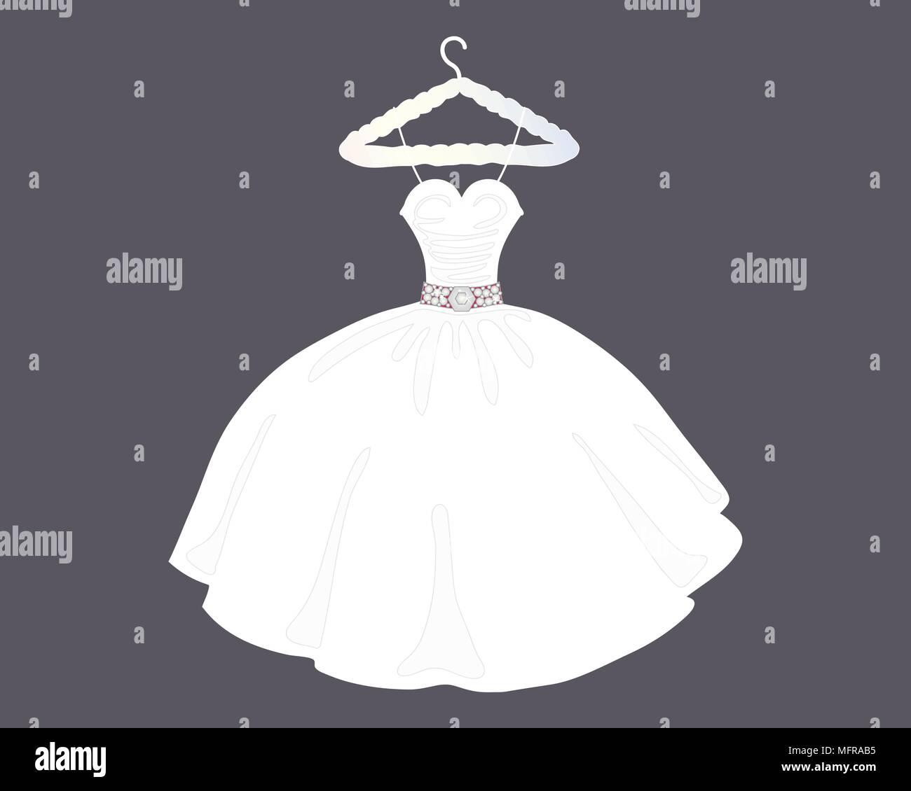 Una illustrazione di un designer di Bellissimo abito da sposa in stile ballgown su un negozio appendiabiti con sfondo grigio Immagini Stock